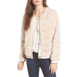 Eliza J Faux Fur Bomber Jacket size small
